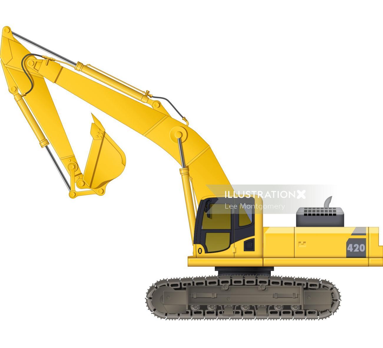 Illustration of caterpillar tracks digger