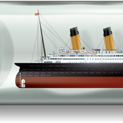Illustration of Titanic in a bottle