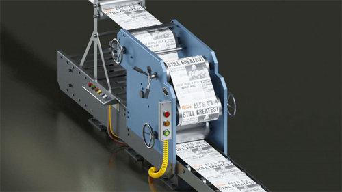 Printing press 3d animation