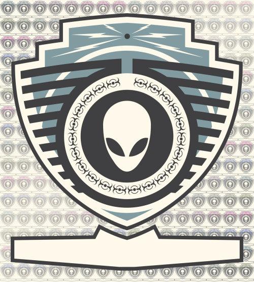 Graphic alien badge