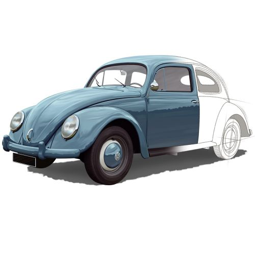 Half painted beetle car