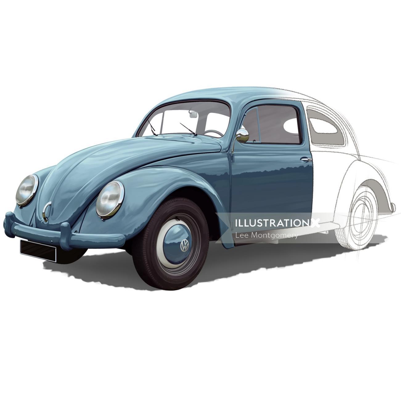 Half painted beetle car