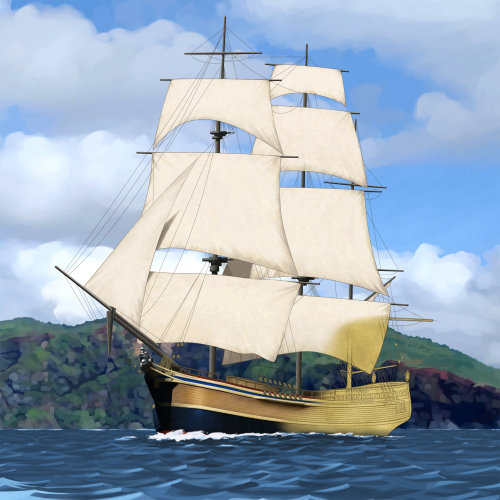 HMS bounty ship historical digital transport