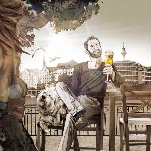 Man enjoying drink with happy dog