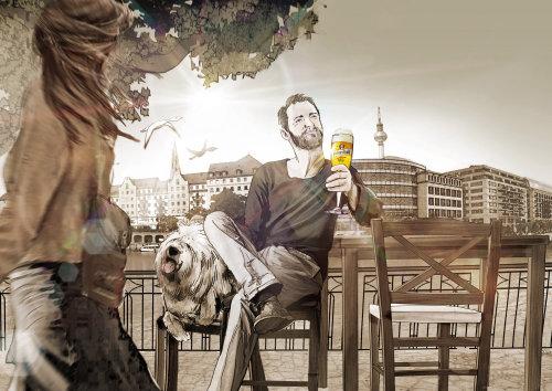男子享受与快乐的狗喝