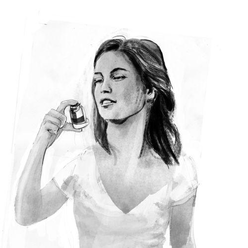 Line art of woman with inhaler