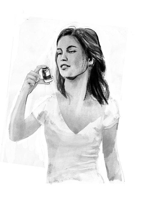 女人与吸入器的线条艺术