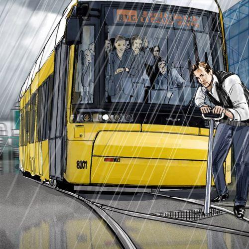Man fixing Tram line  in rainy weather