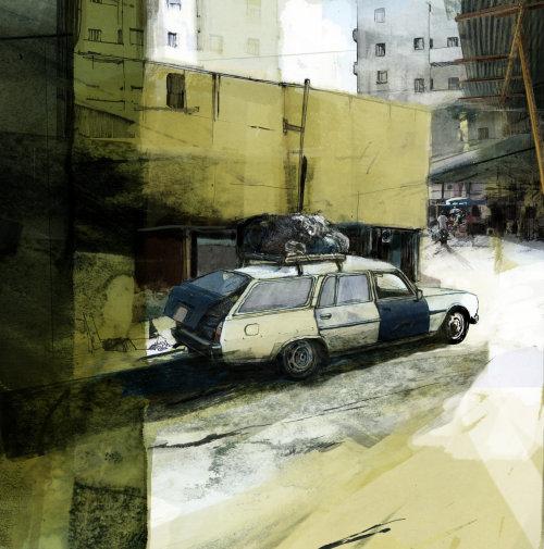在旧城的汽车素描