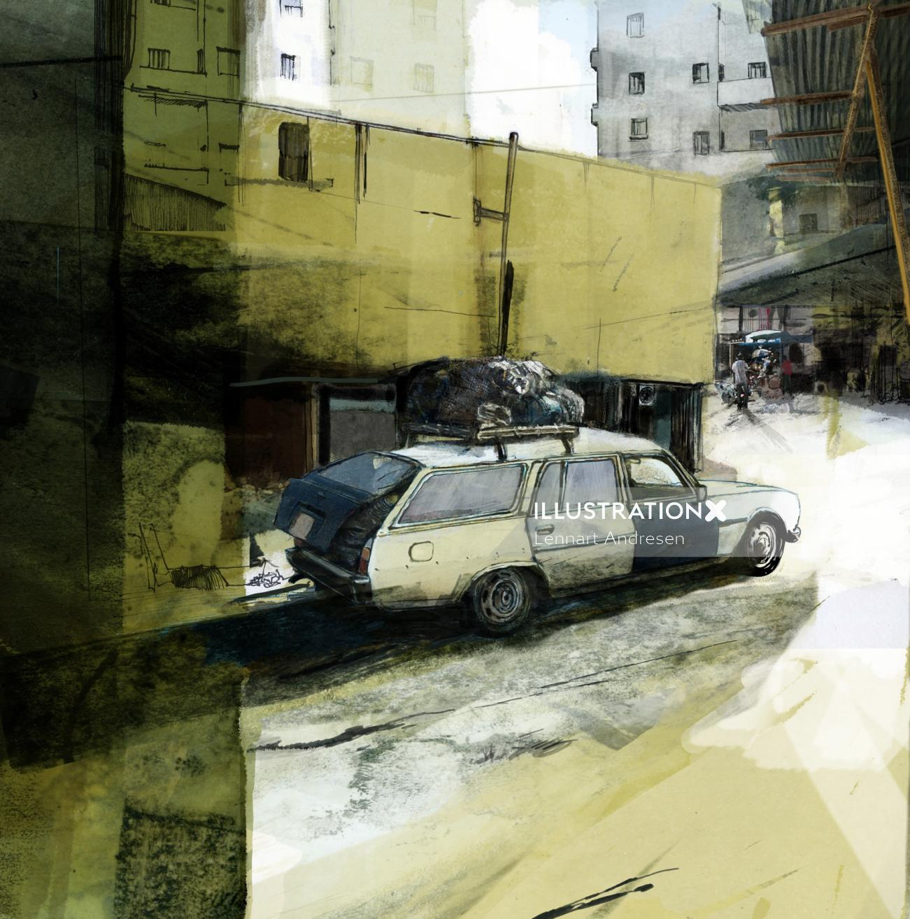 sketch of car in the old city