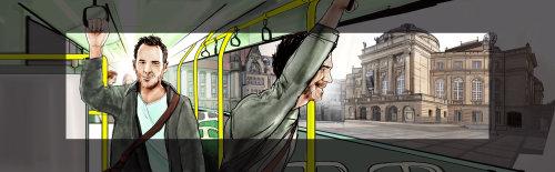 乘坐公共交通工具的人的故事板