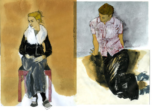 男孩和女孩的肖像素描