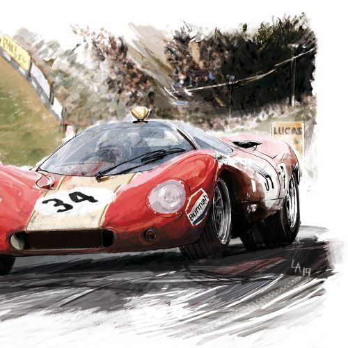 Technical sketch of racing cars