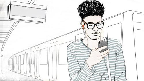 少年的线条艺术与地铁中的手机