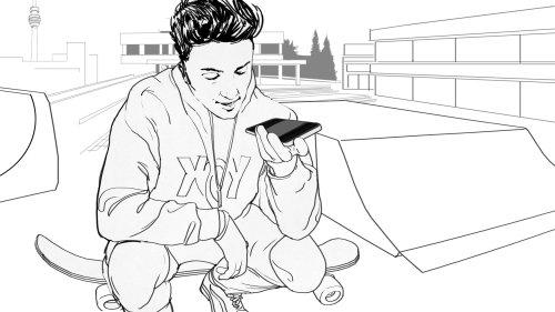 青少年的线条艺术与移动坐在滑板上