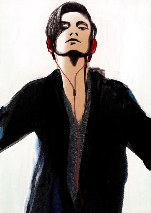 男孩与红色耳机的素描板