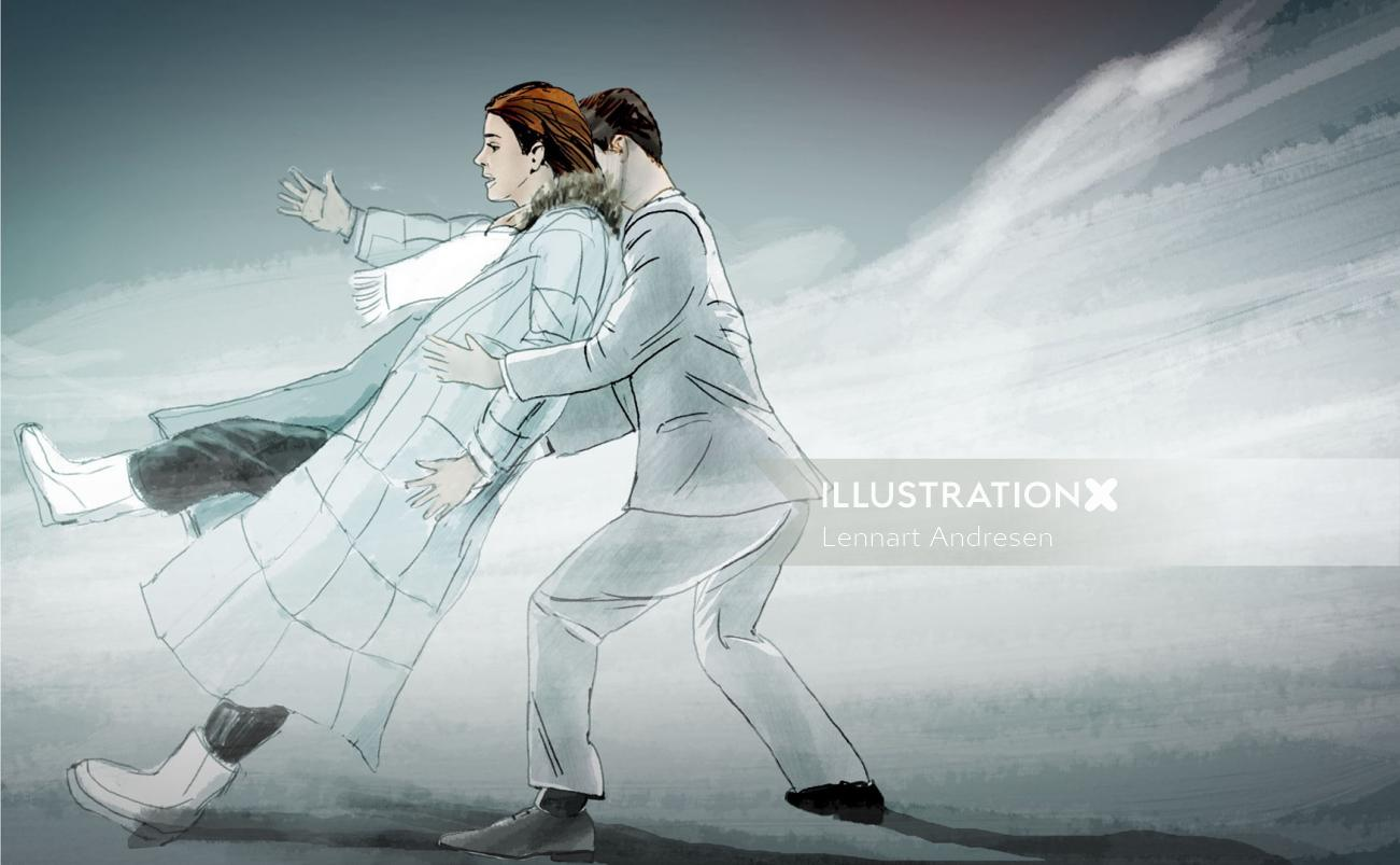 Sketch of couple walking against wind