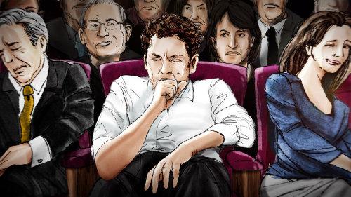 一个人在公共场合咳嗽的插图