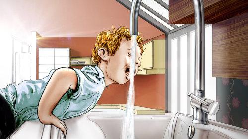 男孩喝水的插图