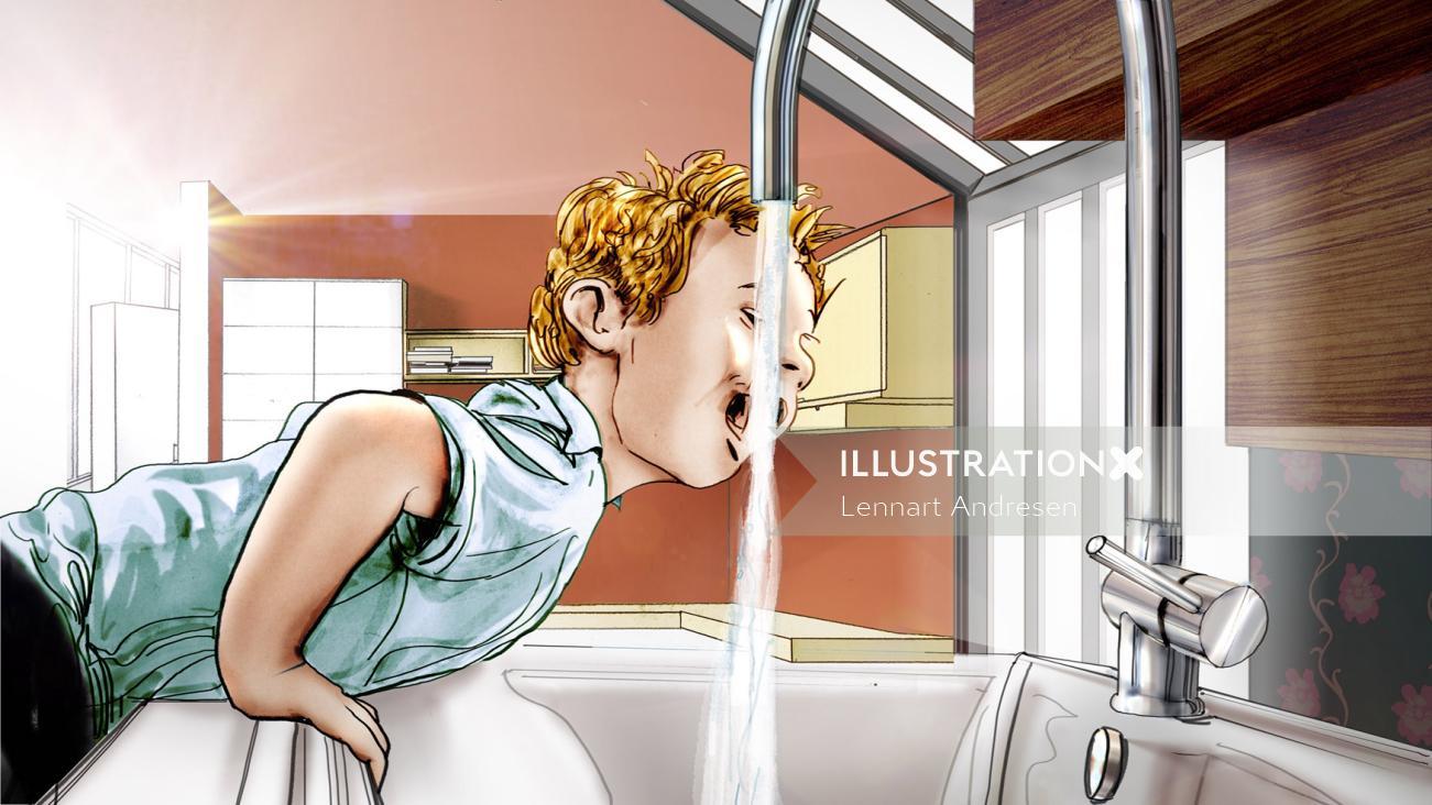 Illustration of boy drinking water
