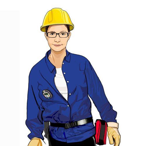 Portrait illustration of woman technician