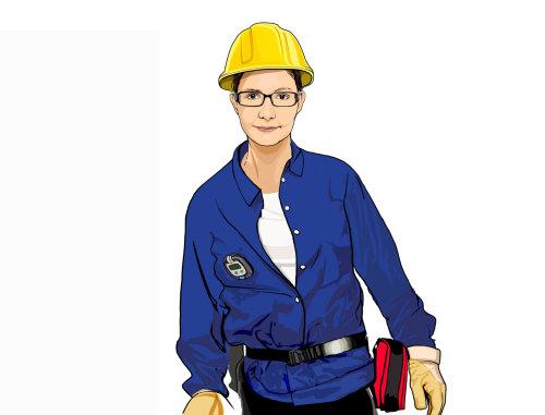 女技师的肖像插图