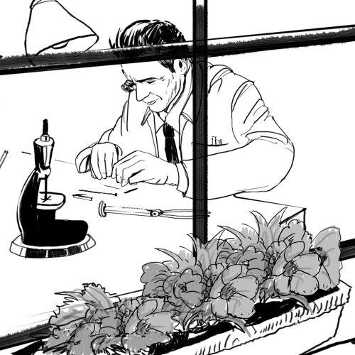 Line art Illustration of Scientist working