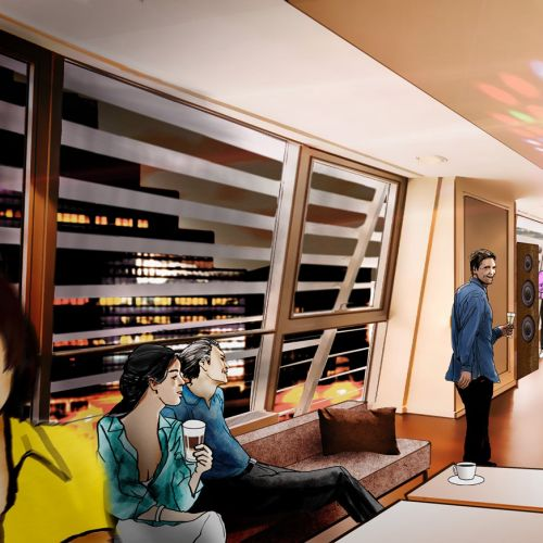 Illustration of people in coffee bar
