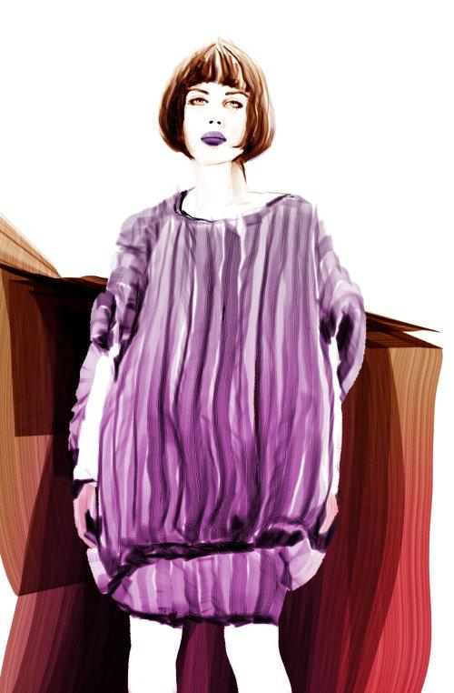 紫罗兰色的流行女人的插图