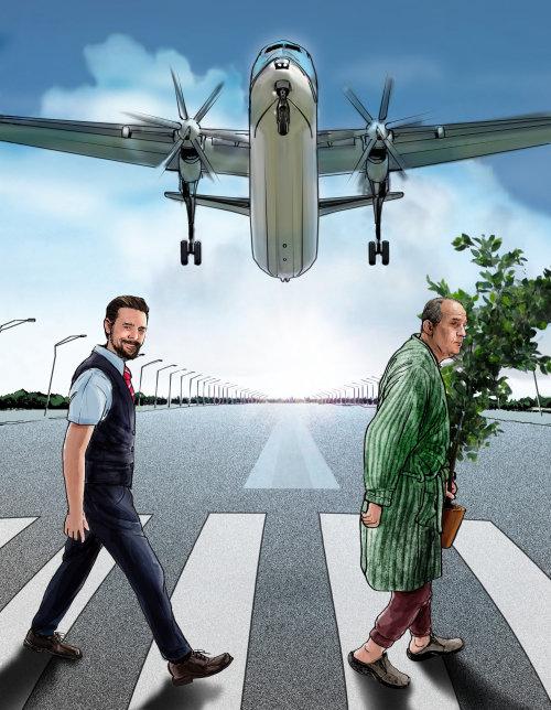 人们穿越斑马线与飞行飞机的插图