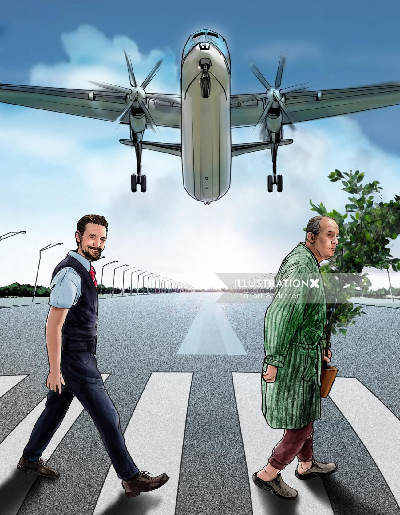 Illustration of people crossing zebra lines with flying plane