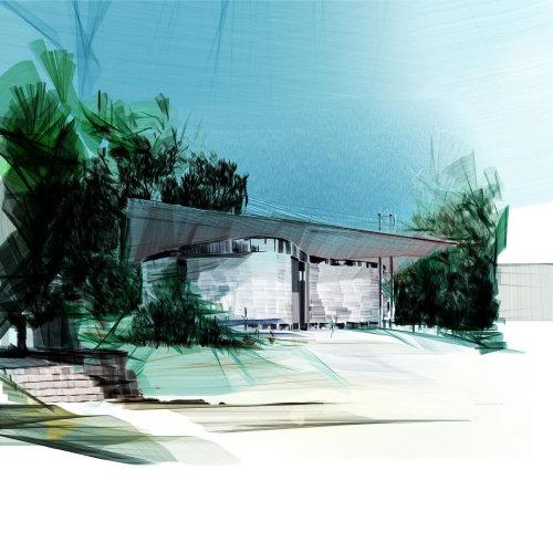 前院的建筑插图