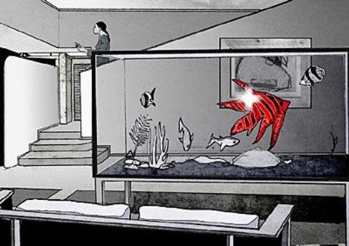 水族馆中的计算机生成的鱼
