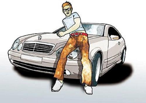 一个男人在车里摆姿势的插图