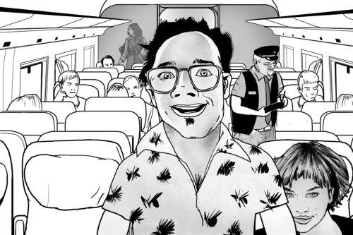 黑白夫妇在公共汽车