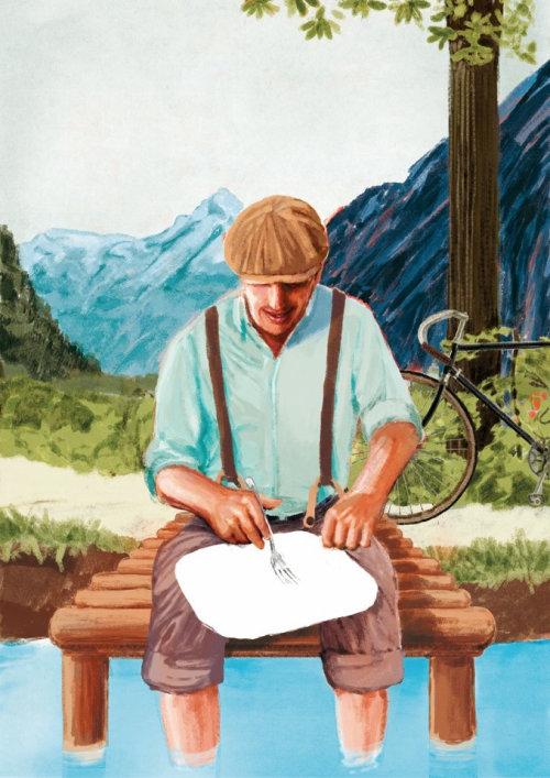 男子坐在水桥上的插图