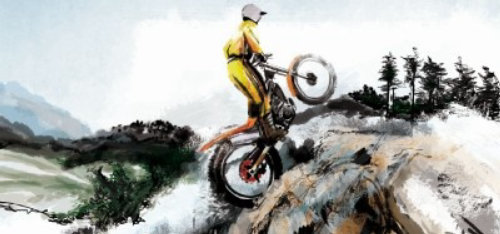 Illustration of a man riding bike