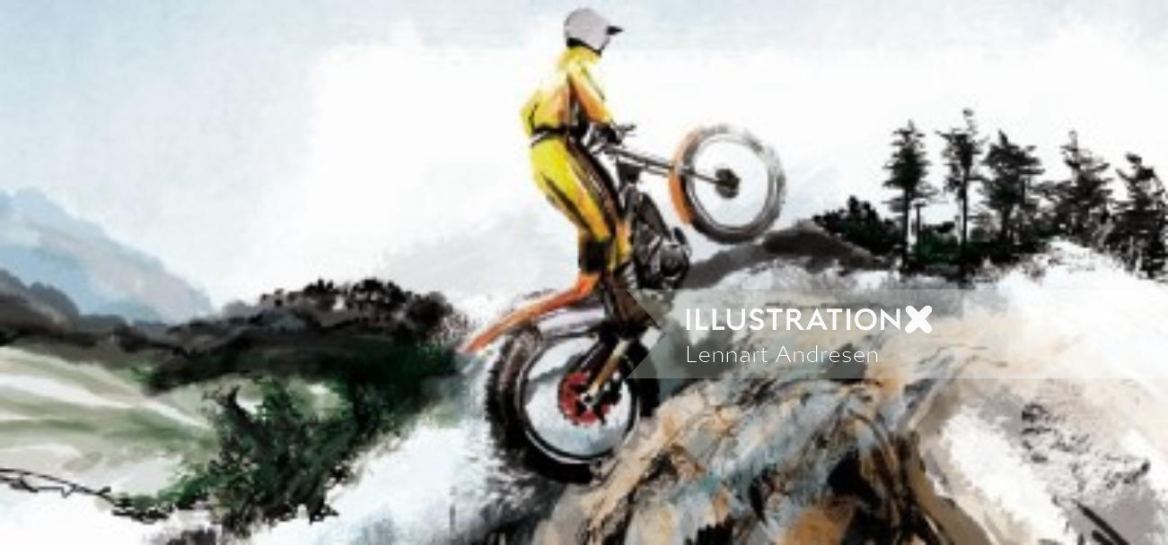 Illustration of a man riding bike