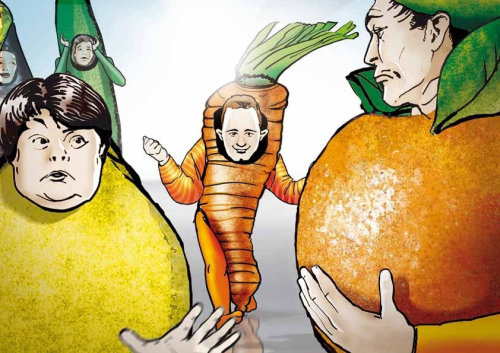 Storyboard de personagens de frutas