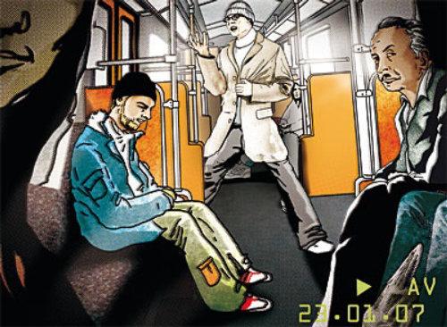 乘火车旅行的人的故事板艺术