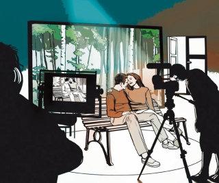 Couple scene shoot in process illustration