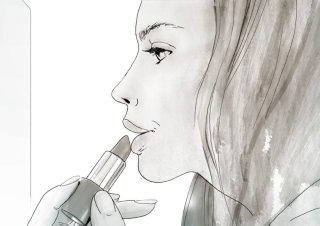 Pencil drawing of a young lady applying lipstick