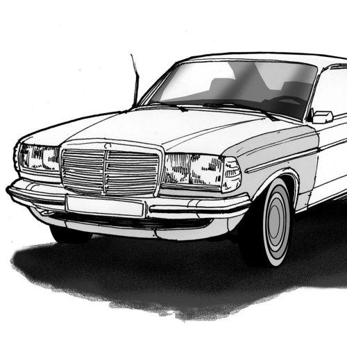 Black and white tehnical illustration of car