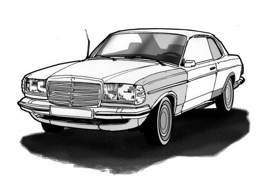 汽车的黑色和白色技术插图