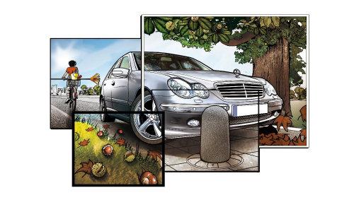 汽车和人的概念拼贴
