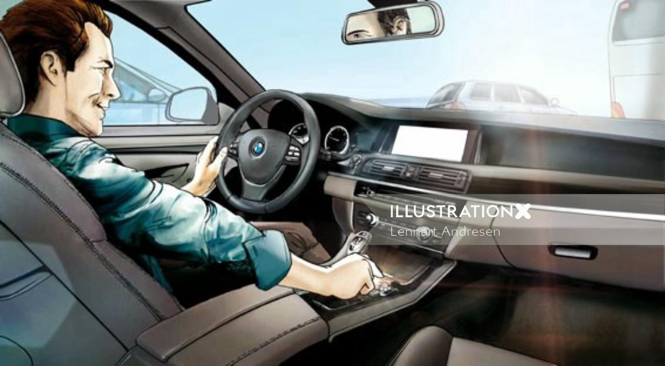 Illustration of a man driving car