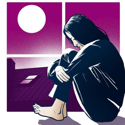Women sitting depressed