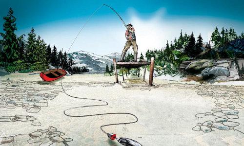 在空荡的湖里钓鱼的人的概念图