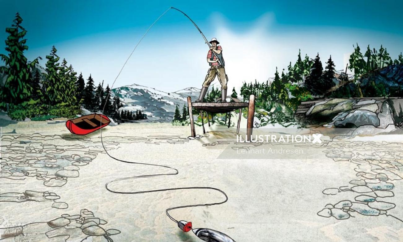 Conceptual illustration of man fishing in empty lake