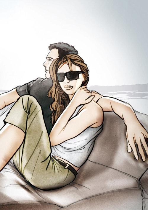 幸福的情侣享受情节提要海滩骑
